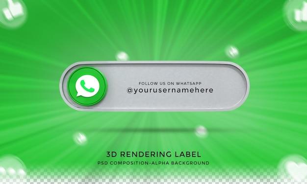Следуйте за мной в социальных сетях whatsapp, нижняя третья третья часть 3d-дизайна визуализирует значок значка с рамкой