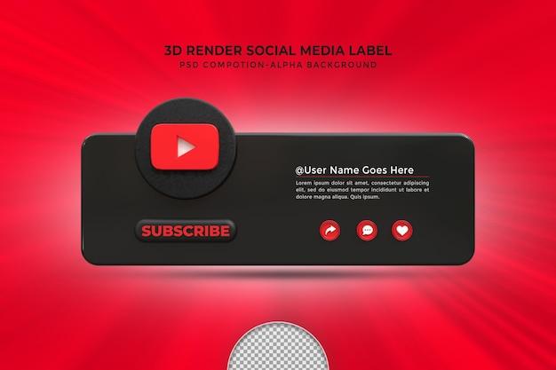 Следуйте за мной в социальных сетях youtube, нижняя третья третья часть значка рендеринга с рамкой