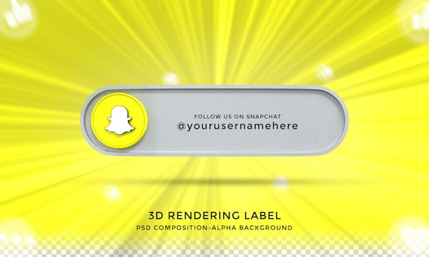 Follow me on snapchat social media lower third 3d design render icon badge with frame