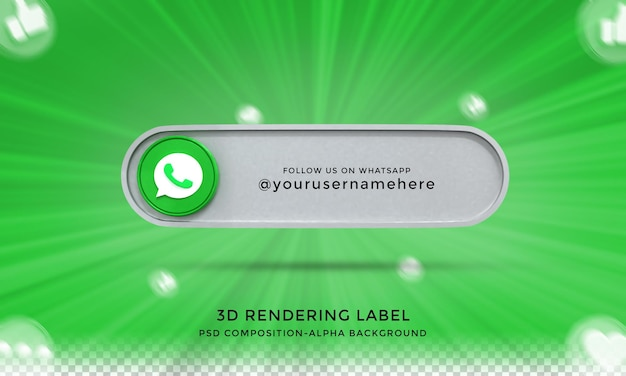 Follow me on whatsapp social media lower third 3d design render icon badge with frame