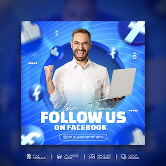 Follow us on facebook creative business promotion and creative social media banner template with 3d