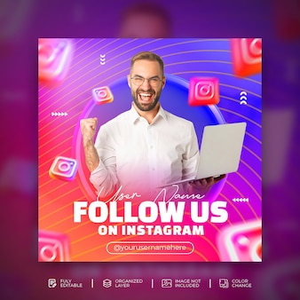 Follow us on instagram business promotion and creative social media square banner template