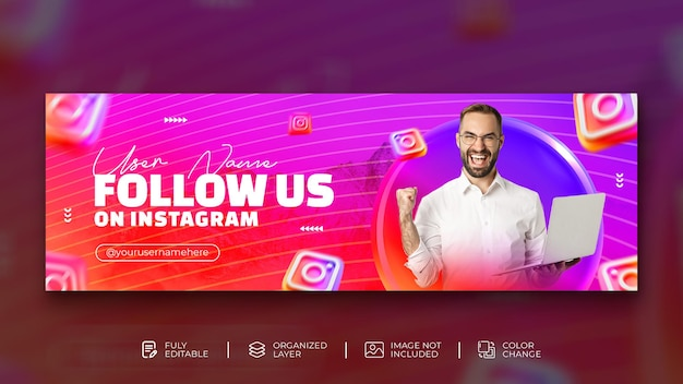 Follow us on instagram creative concept digital marketing agency instagram cover with 3d instagram