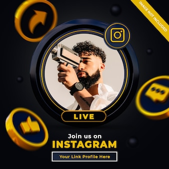 Follow us on instagram social media square banner with 3d logo and link profile box