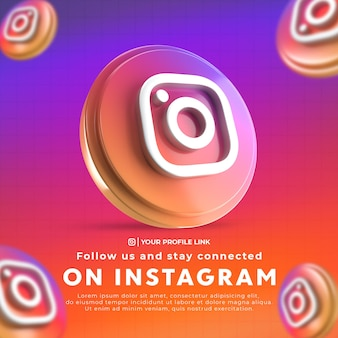 Follow us on instagram social media square banner with 3d rendered icon and profile link premium psd