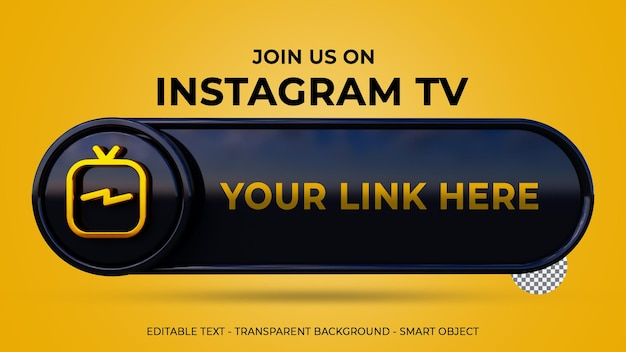 Follow us on instagram tv banner with 3d logo and link profile