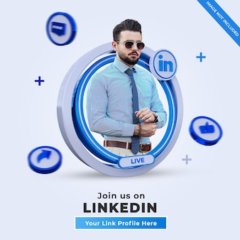 Follow us on linkedin social media square banner with 3d logo and link profile box