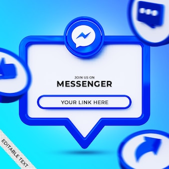 Follow us on messenger social media square banner with 3d logo and link profile