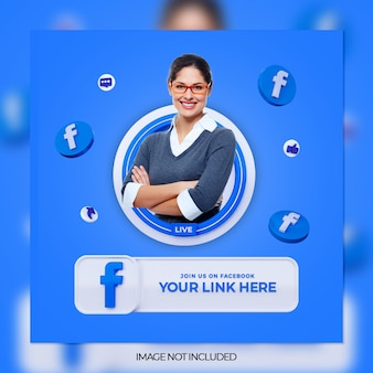 3dロゴとリンクプロファイルボックスを備えたfacebookソーシャルメディアスクエアバナーでフォローしてください