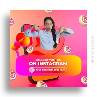 ユーザー名ボックス付きのinstagramソーシャルメディアバナーでフォローしてください