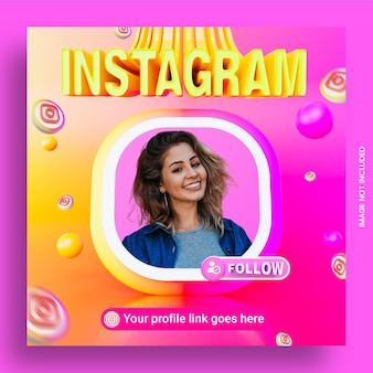 Следуйте за нами в instagram шаблон квадратного баннера в социальных сетях