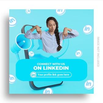 ユーザー名ボックス付きのlinkedinソーシャルメディアバナーでフォローしてください