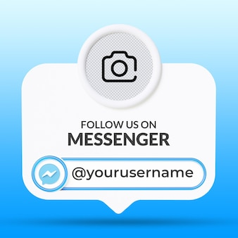 메신저 소셜 미디어 하단 세 번째 배너 템플릿에서 우리를 따르십시오 프리미엄 PSD 파일