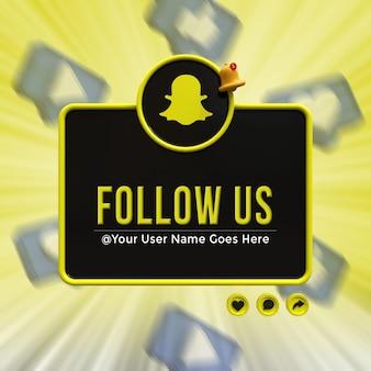 Snapchat 소셜 미디어에서 우리를 따르십시오. 낮은 세 번째 3d 디자인 렌더링 아이콘 배지