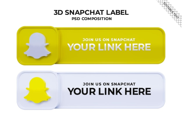 3dロゴとリンクプロファイルボックスを備えたsnapchatソーシャルメディアスクエアバナーでフォローしてください
