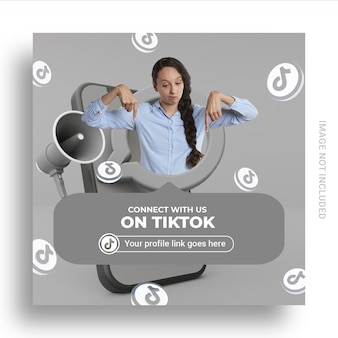 ユーザー名ボックス付きのtiktokソーシャルメディアバナーでフォローしてください