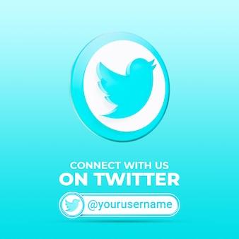 Подписывайтесь на нас в твиттере в социальных сетях квадратный баннер шаблон