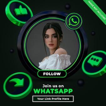 3d 로고와 링크 프로필이있는 wharsapp 소셜 미디어 정사각형 배너에서 팔로우하세요