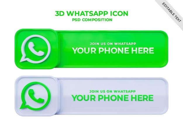 Whatsappソーシャルメディアスクエア3dバナーとリンクプロファイルボックスでフォローしてください