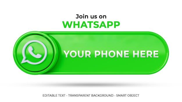 Whatsapp 소셜 미디어에서 3d 로고와 링크 프로필을 팔로우하세요.