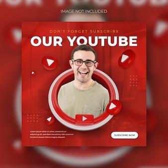 Следуйте за нами на youtube в социальных сетях квадратный баннер с 3d шаблоном