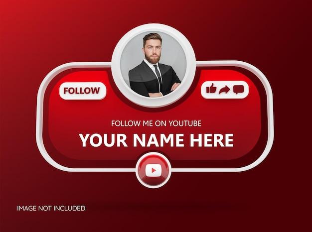 3d 로고와 링크 프로필 상자가 있는 youtube 소셜 미디어에서 우리를 팔로우하세요.