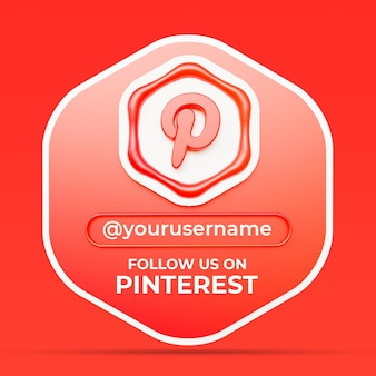 Follow us on pinterest social media profile square banner template