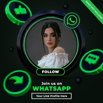 Follow us on wharsapp social media square banner with 3d logo and link profile