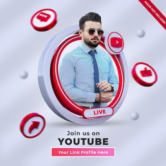 Follow us on youtube social media square banner with 3d logo and link profile box