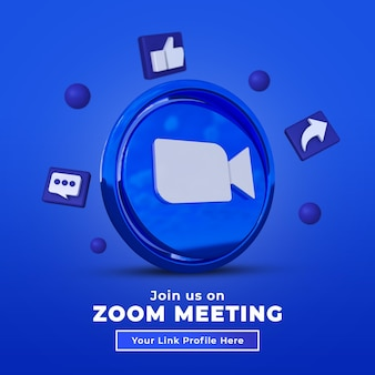 Follow us on zoom social media square post with 3d logo and link profile