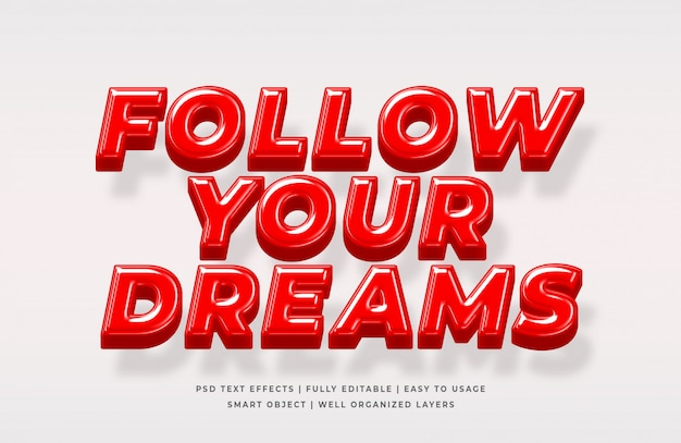Follow your dream 3d text style