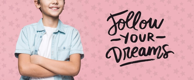 Follow your dreams young cute boy mock-up
