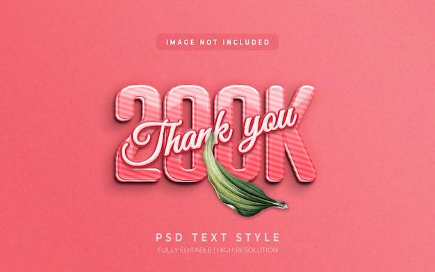 Follower 3d text style effect thank you 200k