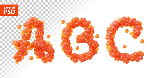 Font set made of red caviar, letters a, b, c.