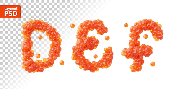 Font set made of red caviar, letters d, e, f.
