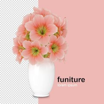 分離された3 dレンダリングでフォントビューの花