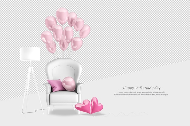 Font view sofa and ballons in 3d rendering