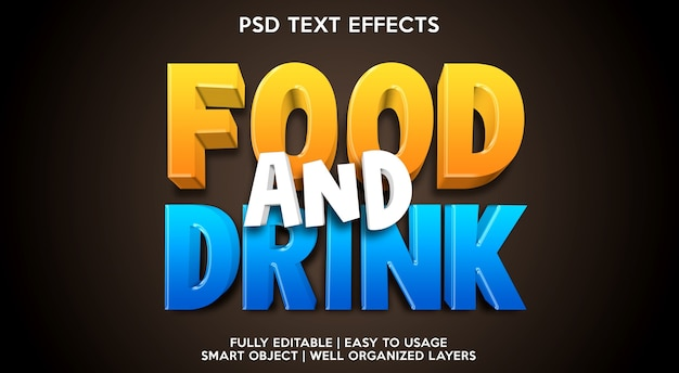 食べ物や飲み物のテキスト効果テンプレート