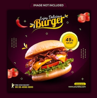 Еда и меню ресторана в социальных сетях баннер шаблон поста в instagram премиум psd