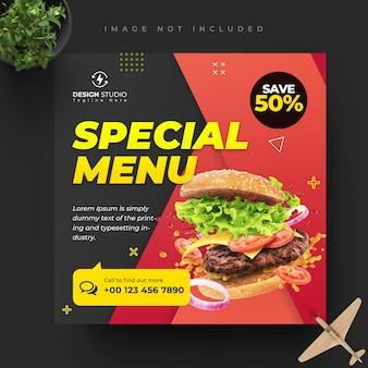 食品やレストランのソーシャルメディアの正方形のテンプレートデザインを投稿します。