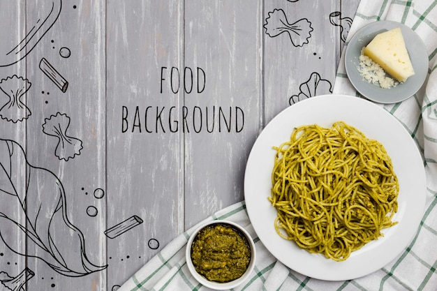 Food background pasta with spinach