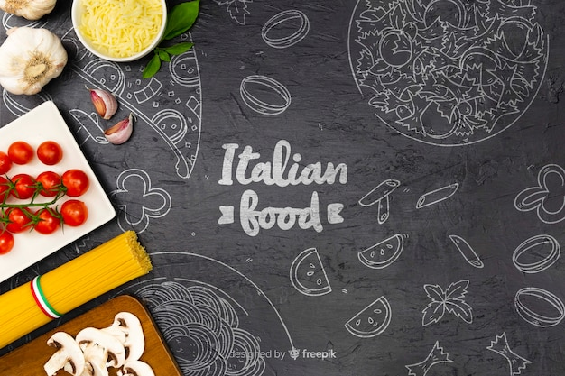 Food background with delicious ingredients