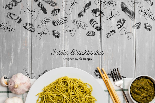 Food background with delicious pasta
