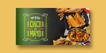 メキシコのコンセプトを持つ食品バナーモックアップ