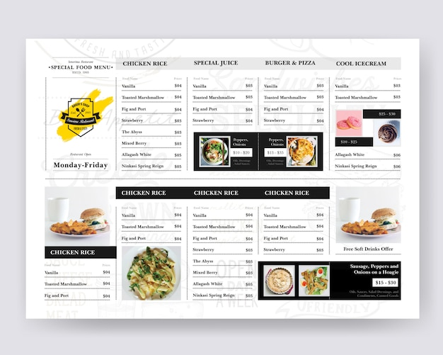 Food board design для ресторана