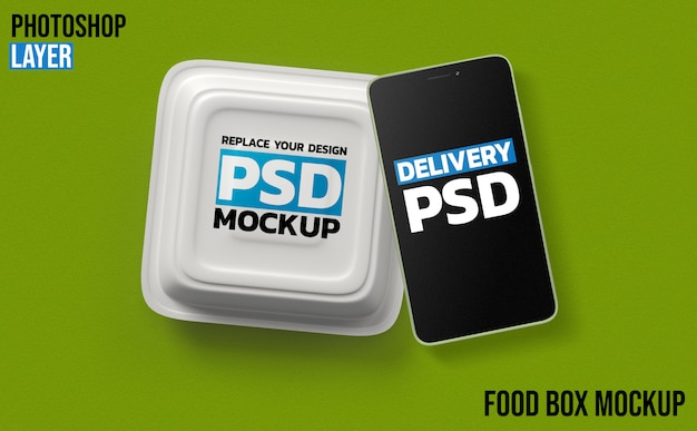 Food box and smartphone 3d rendering mockup