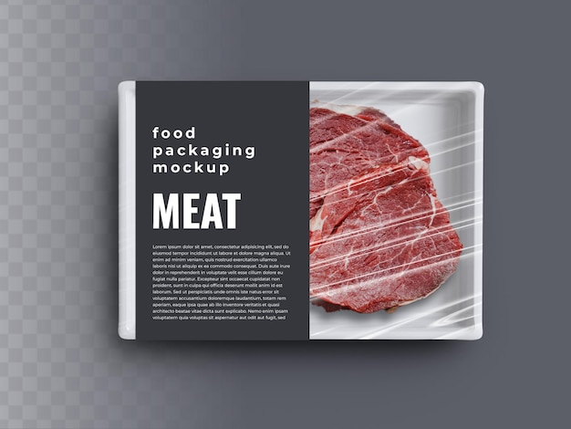 Food box tray container mockup with meat steak in plastic wrapping packaging and paper cover label