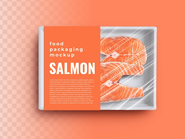 Food box tray container mockup with salmon fish in plastic wrapping packaging and paper cover label