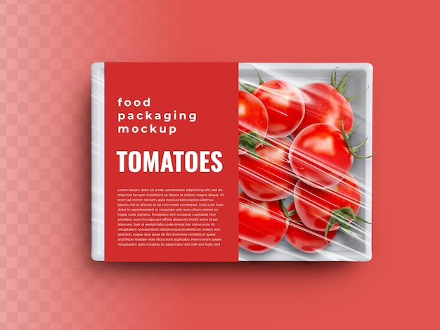 Food box tray container mockup with tomatoes vegetables in plastic wrapping packaging paper cover