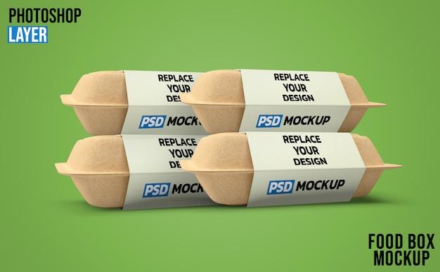 Пищевые коробки 3d-рендеринг макет